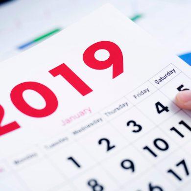 Calendário de janeiro de 2019 com datas comemorativas